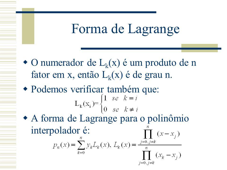 Forma de Lagrange O numerador de Lk(x) é um produto de n fator em x, então Lk(x) é de grau n. Podemos verificar também que: