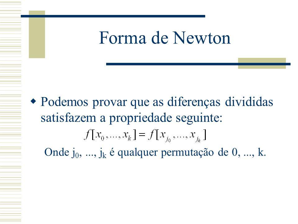 Forma de Newton Podemos provar que as diferenças divididas satisfazem a propriedade seguinte: Onde j0, ..., jk é qualquer permutação de 0, ..., k.