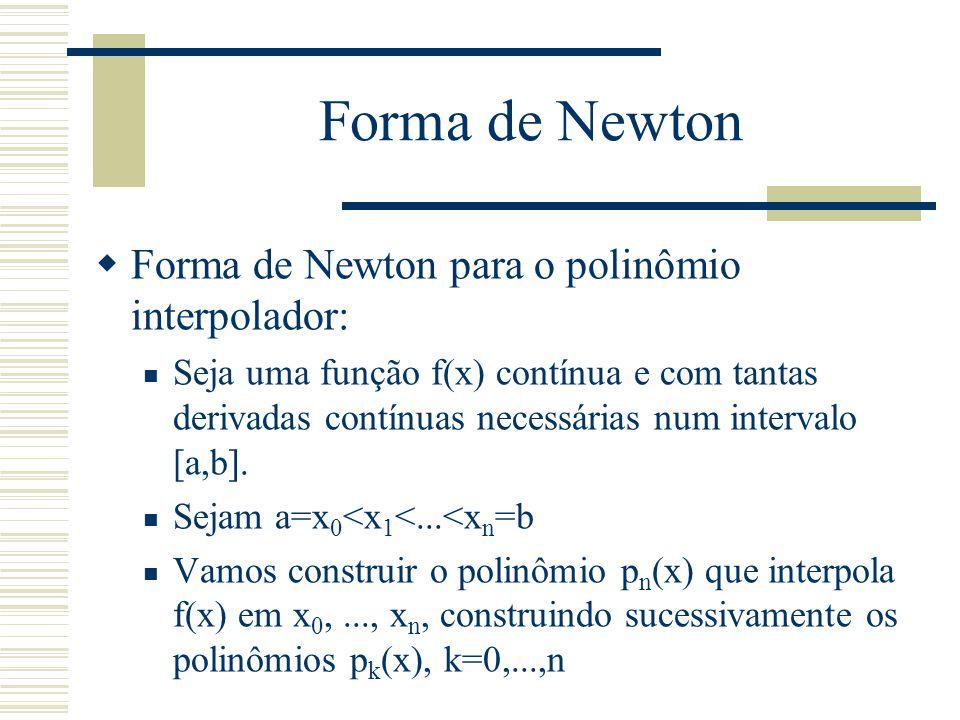 Forma de Newton Forma de Newton para o polinômio interpolador: