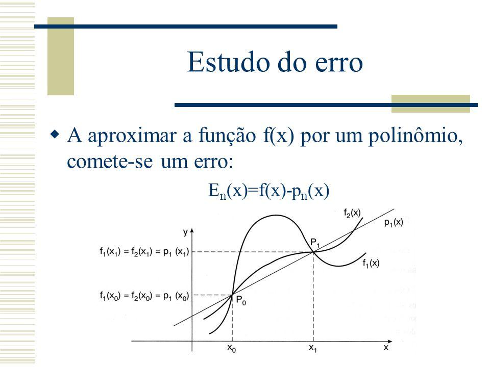 Estudo do erro A aproximar a função f(x) por um polinômio, comete-se um erro: En(x)=f(x)-pn(x)