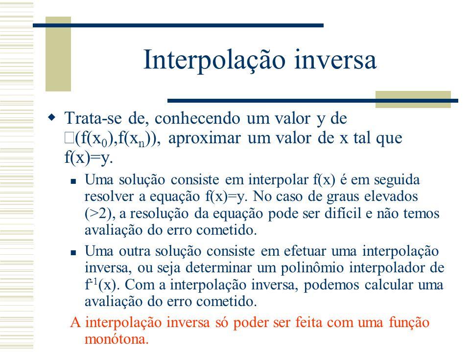 Interpolação inversa Trata-se de, conhecendo um valor y de Î(f(x0),f(xn)), aproximar um valor de x tal que f(x)=y.