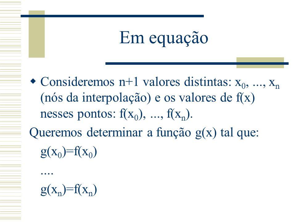 Em equação Consideremos n+1 valores distintas: x0, ..., xn (nós da interpolação) e os valores de f(x) nesses pontos: f(x0), ..., f(xn).