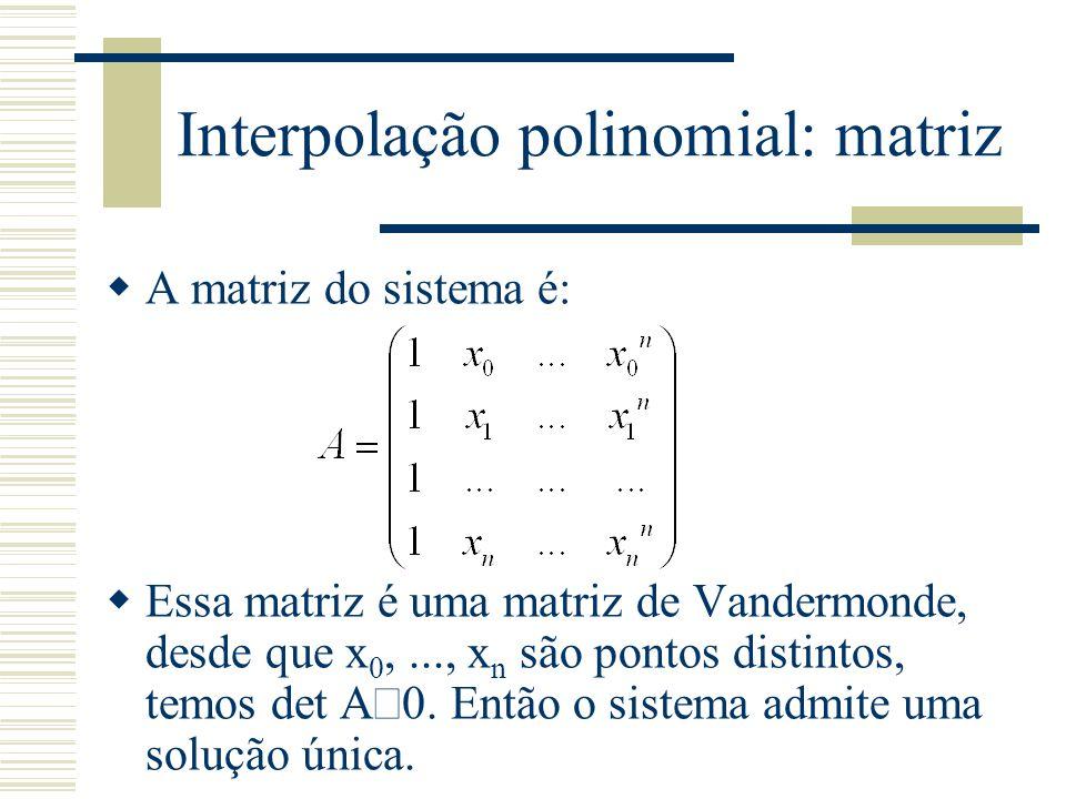 Interpolação polinomial: matriz