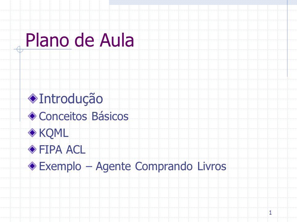 Plano de Aula Introdução Conceitos Básicos KQML FIPA ACL