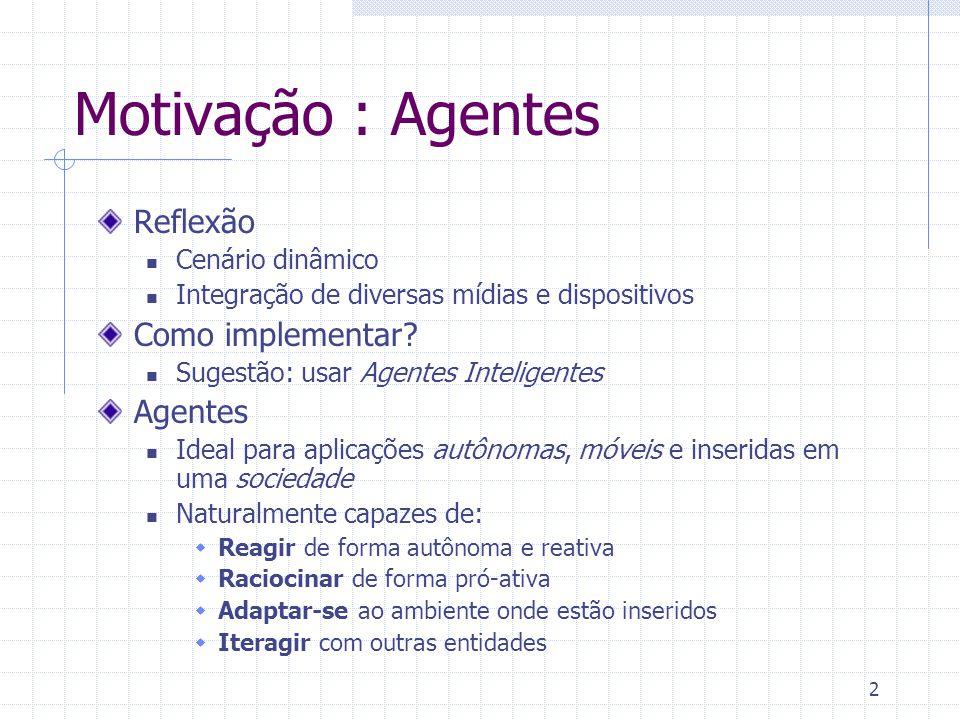 Motivação : Agentes Reflexão Como implementar Agentes