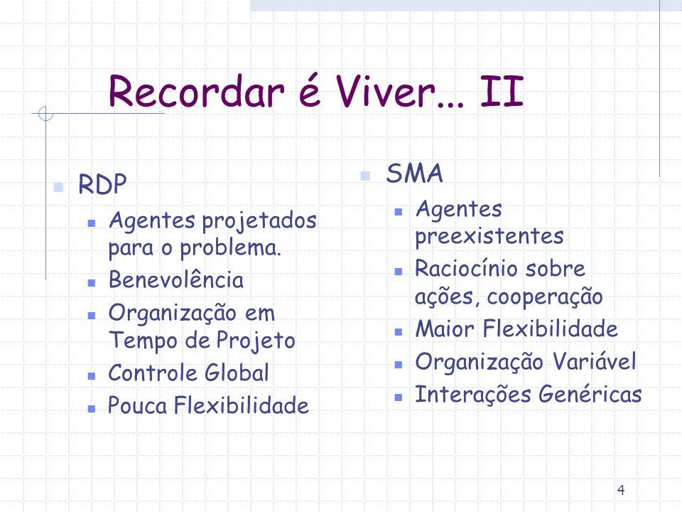 Recordar é Viver... II SMA RDP Agentes preexistentes