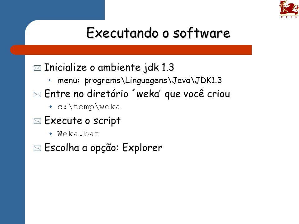 Executando o software Inicialize o ambiente jdk 1.3