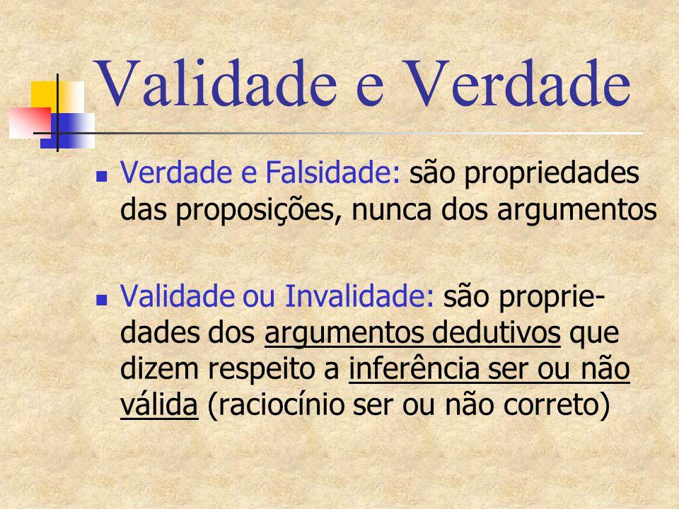 Validade e Verdade Verdade e Falsidade: são propriedades das proposições, nunca dos argumentos.