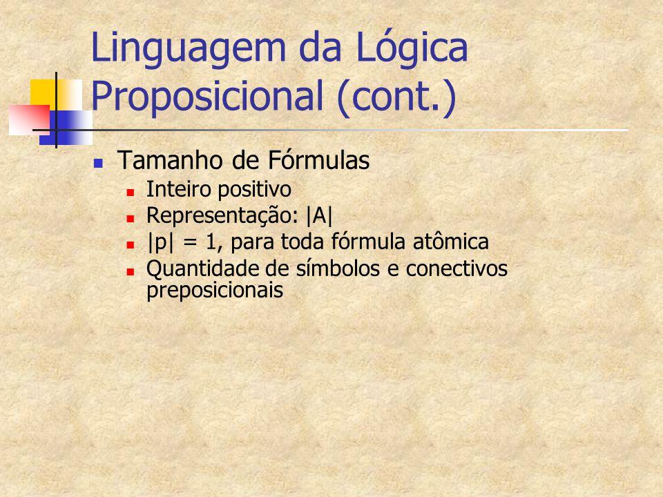 Linguagem da Lógica Proposicional (cont.)