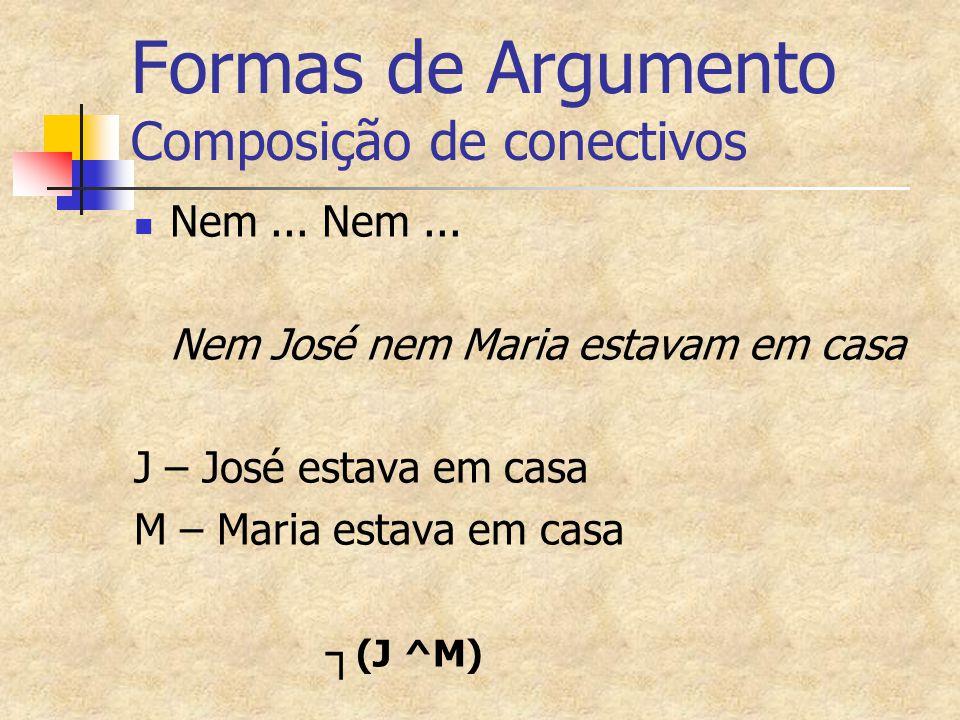 Formas de Argumento Composição de conectivos