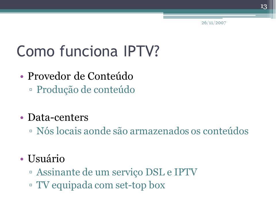 Como funciona IPTV Provedor de Conteúdo Data-centers Usuário