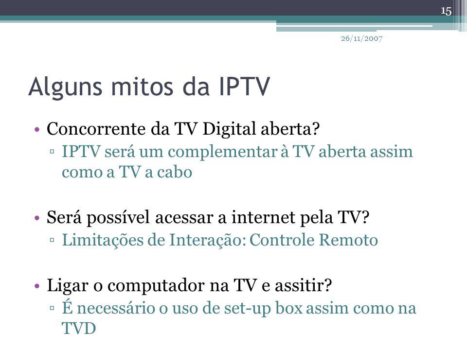 Alguns mitos da IPTV Concorrente da TV Digital aberta