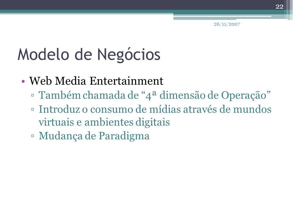 Modelo de Negócios Web Media Entertainment
