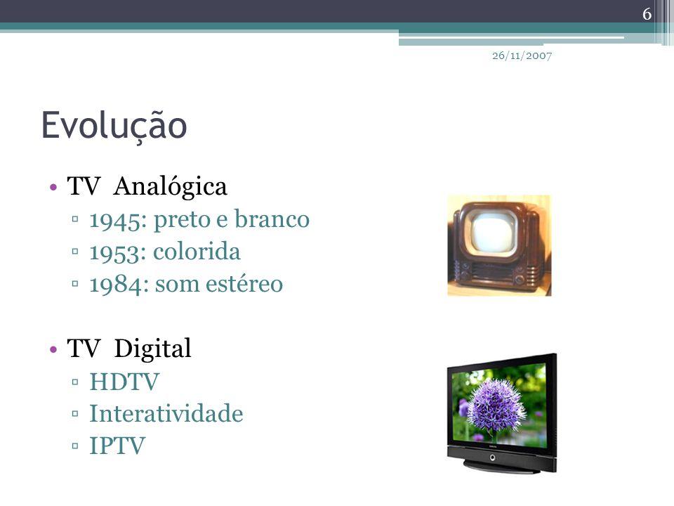 Evolução TV Analógica TV Digital 1945: preto e branco 1953: colorida