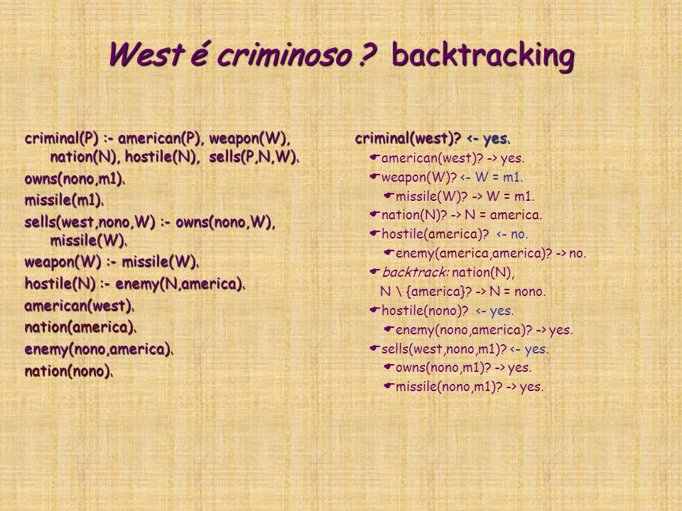 West é criminoso backtracking