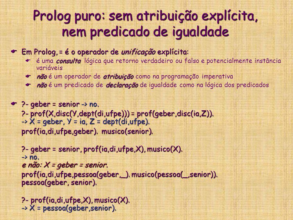 Prolog puro: sem atribuição explícita, nem predicado de igualdade