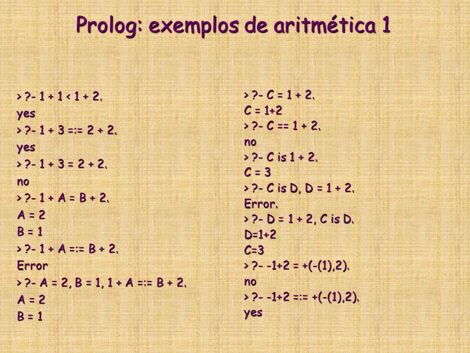 Prolog: exemplos de aritmética 1