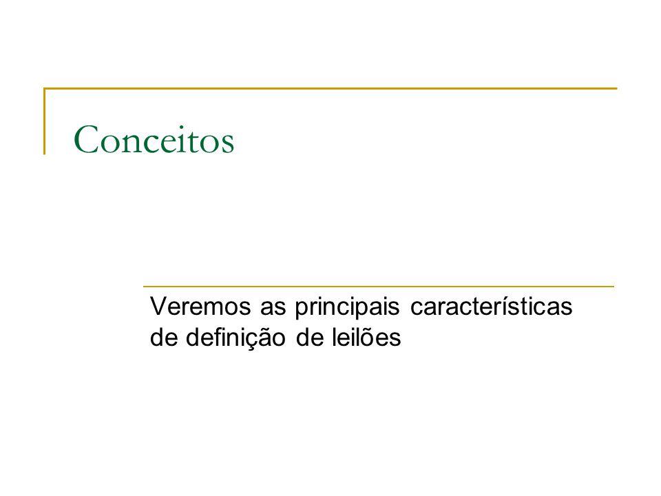 Veremos as principais características de definição de leilões