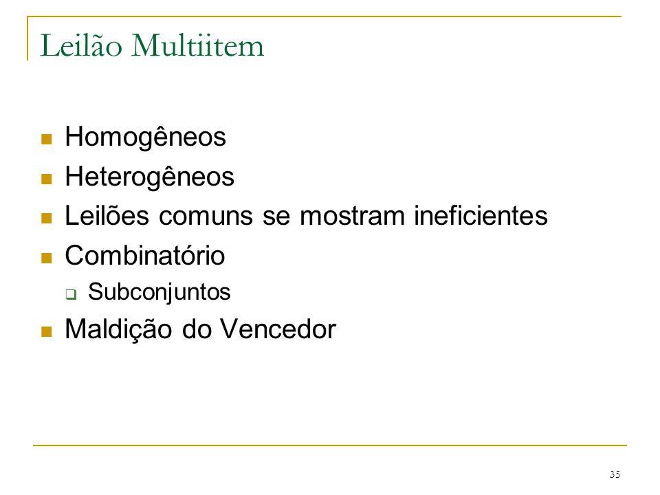 Leilão Multiitem Homogêneos Heterogêneos