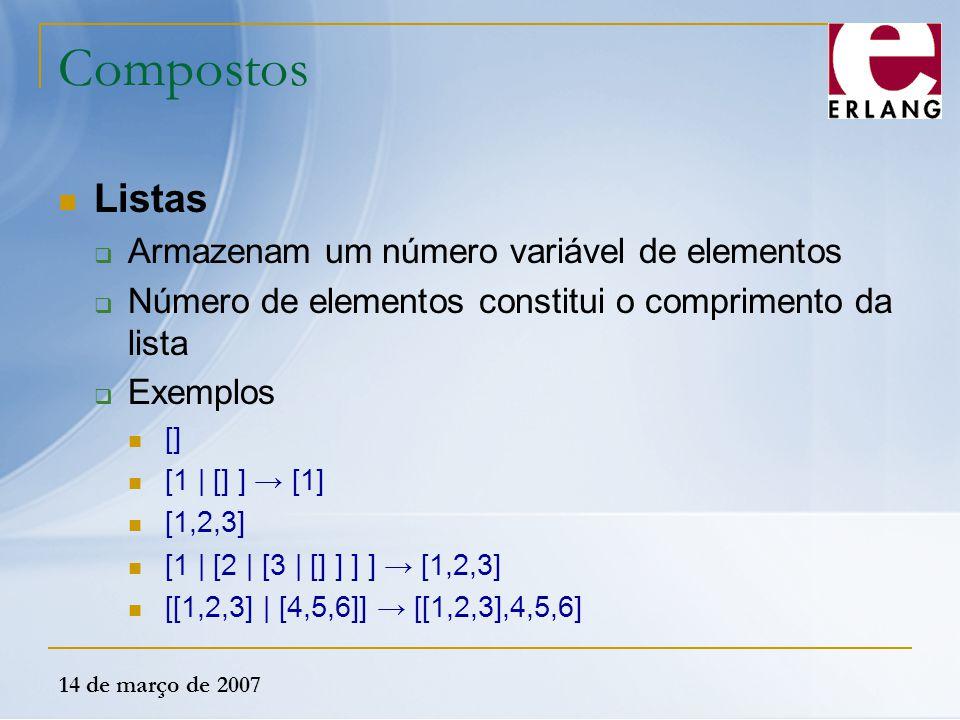 Compostos Listas Armazenam um número variável de elementos