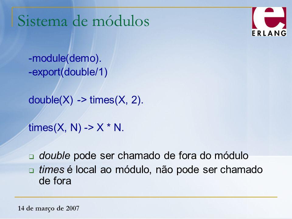 Sistema de módulos -module(demo). -export(double/1)