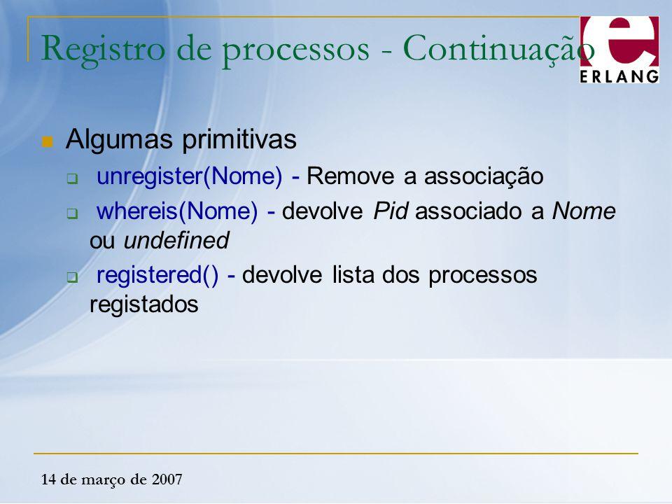 Registro de processos - Continuação
