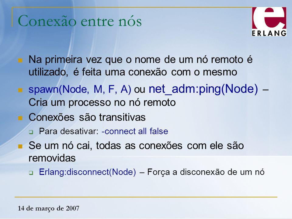 Conexão entre nós Na primeira vez que o nome de um nó remoto é utilizado, é feita uma conexão com o mesmo.