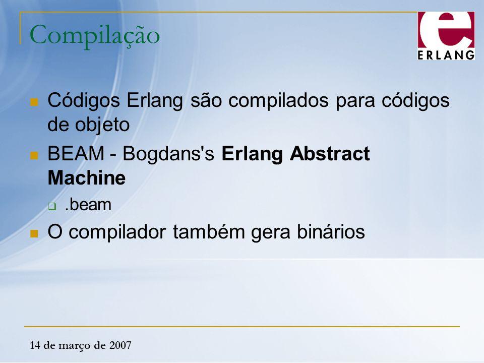 Compilação Códigos Erlang são compilados para códigos de objeto