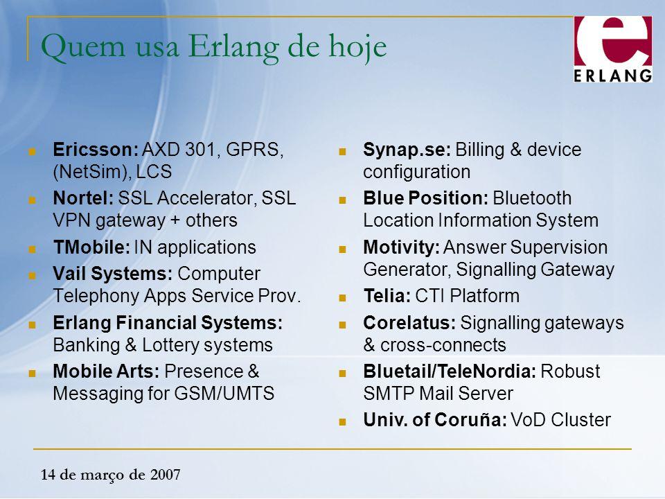Quem usa Erlang de hoje Ericsson: AXD 301, GPRS, (NetSim), LCS