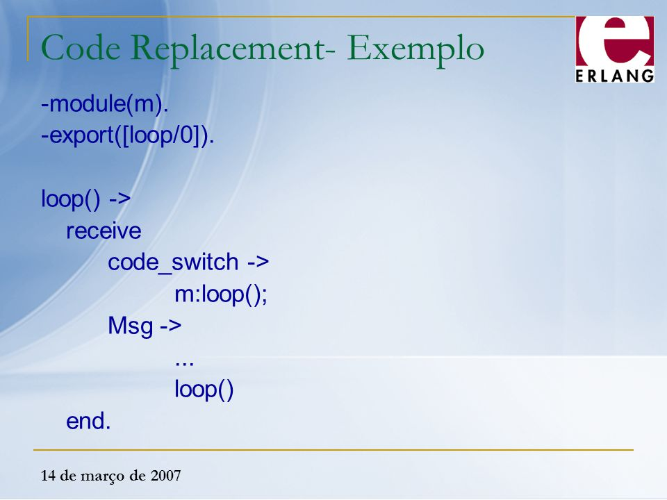 Code Replacement- Exemplo