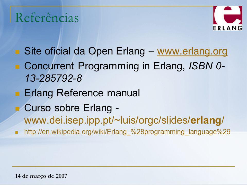 Referências Site oficial da Open Erlang – www.erlang.org
