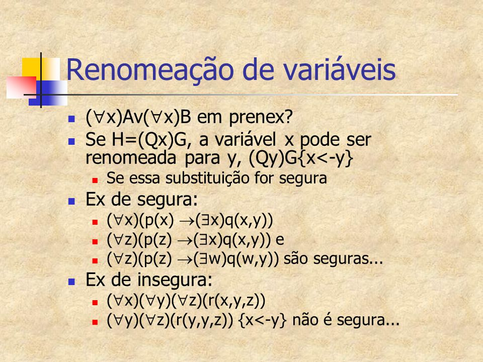 Renomeação de variáveis