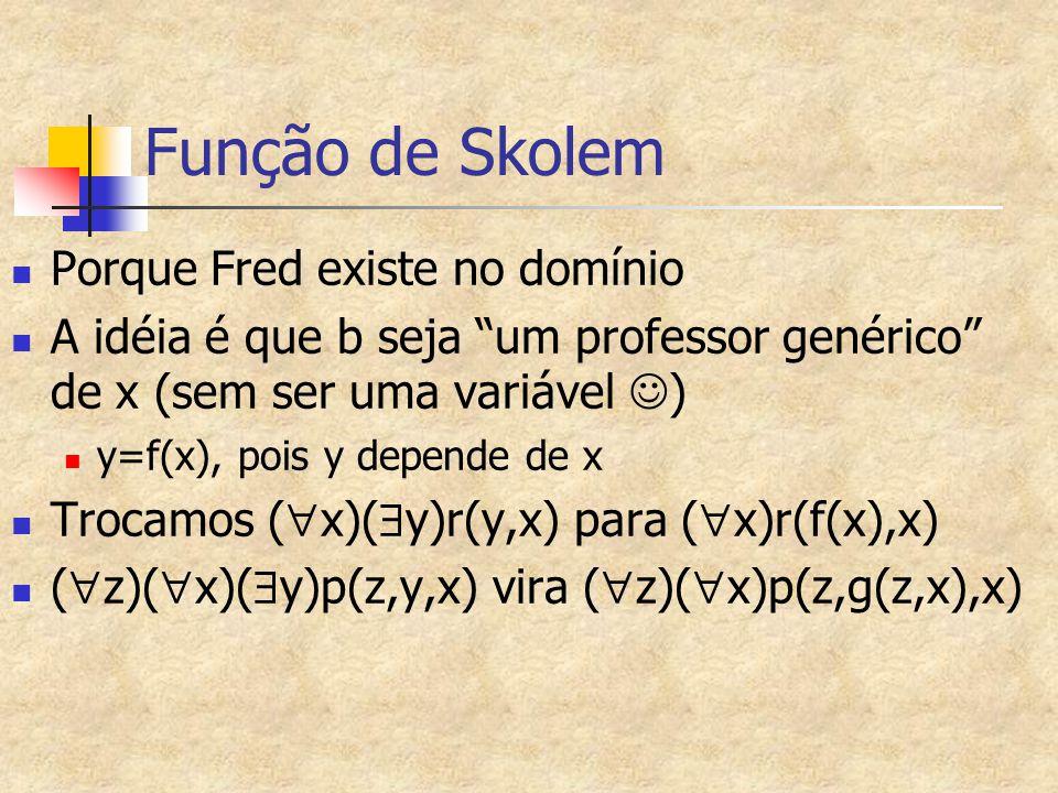 Função de Skolem Porque Fred existe no domínio