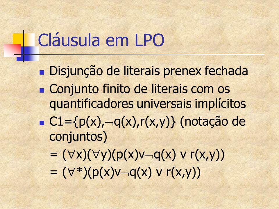 Cláusula em LPO Disjunção de literais prenex fechada