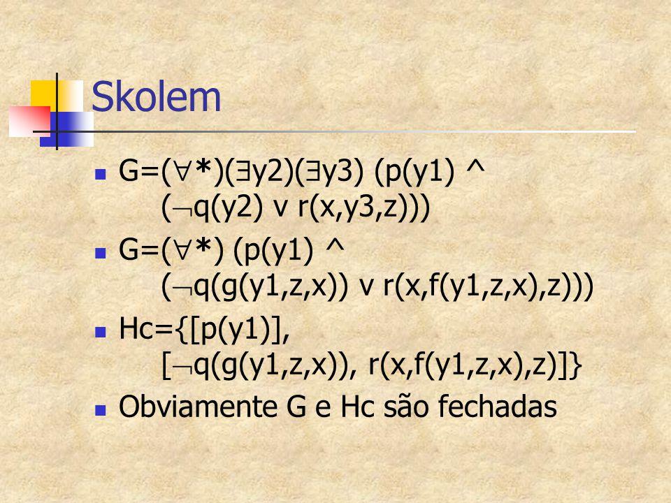 Skolem G=(*)(y2)(y3) (p(y1) ^ (q(y2) v r(x,y3,z)))