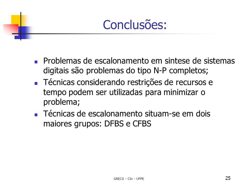Conclusões: Problemas de escalonamento em sintese de sistemas digitais são problemas do tipo N-P completos;