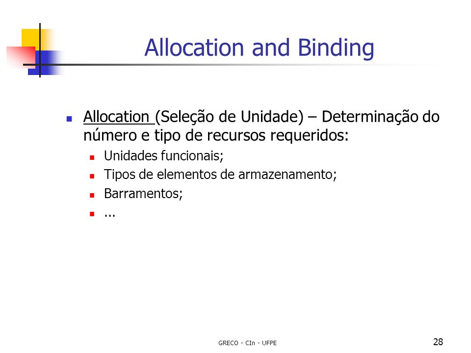 Allocation and Binding