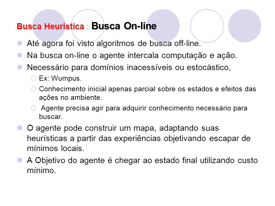 Busca Heurística : Busca On-line
