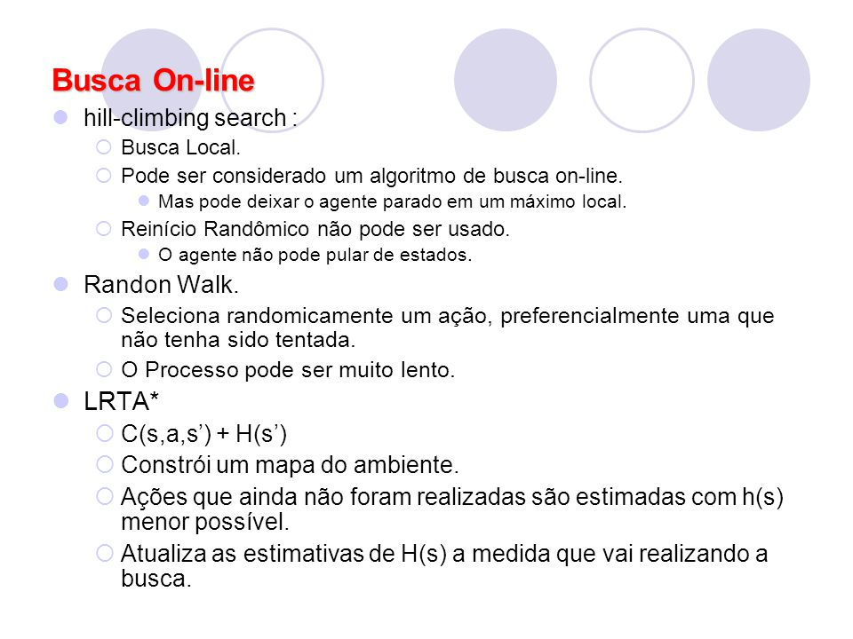 Busca On-line LRTA* Randon Walk. hill-climbing search :