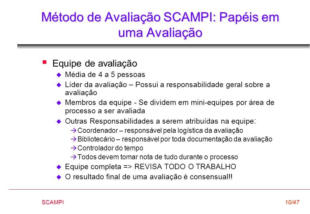 Método de Avaliação SCAMPI: Papéis em uma Avaliação