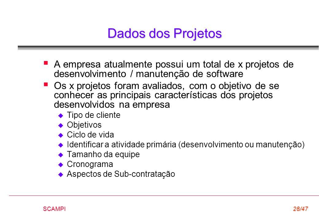 Dados dos Projetos A empresa atualmente possui um total de x projetos de desenvolvimento / manutenção de software.