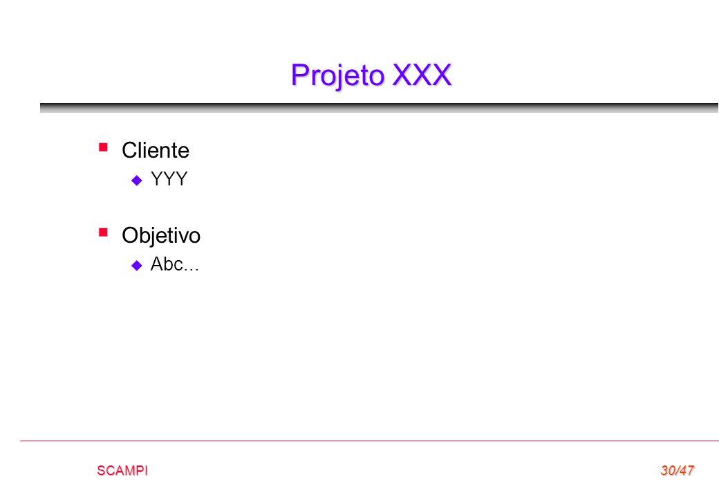Projeto XXX Cliente YYY Objetivo Abc... SCAMPI