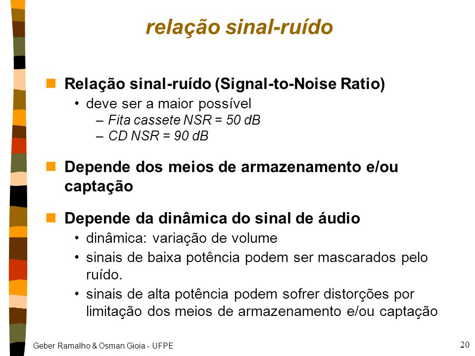 relação sinal-ruído Relação sinal-ruído (Signal-to-Noise Ratio)