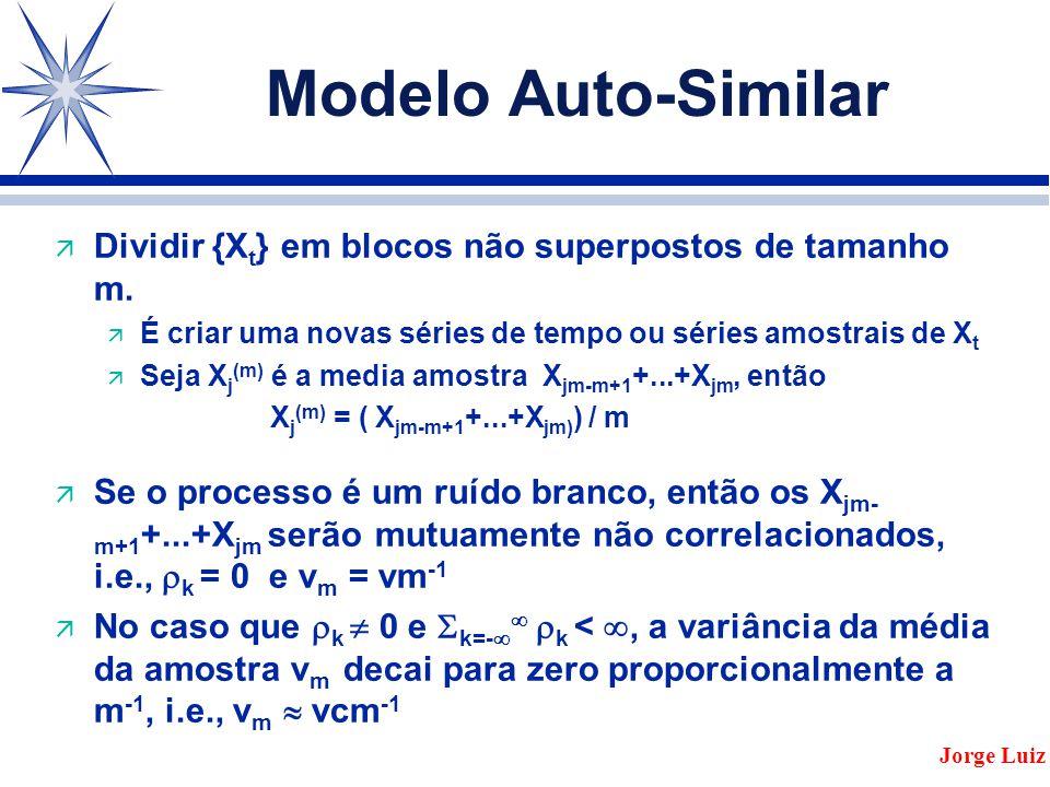 Modelo Auto-Similar Dividir {Xt} em blocos não superpostos de tamanho m. É criar uma novas séries de tempo ou séries amostrais de Xt.