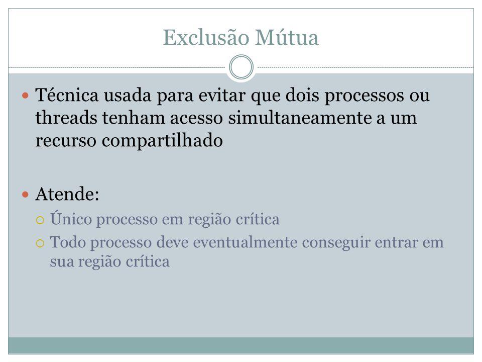 Exclusão Mútua Técnica usada para evitar que dois processos ou threads tenham acesso simultaneamente a um recurso compartilhado.