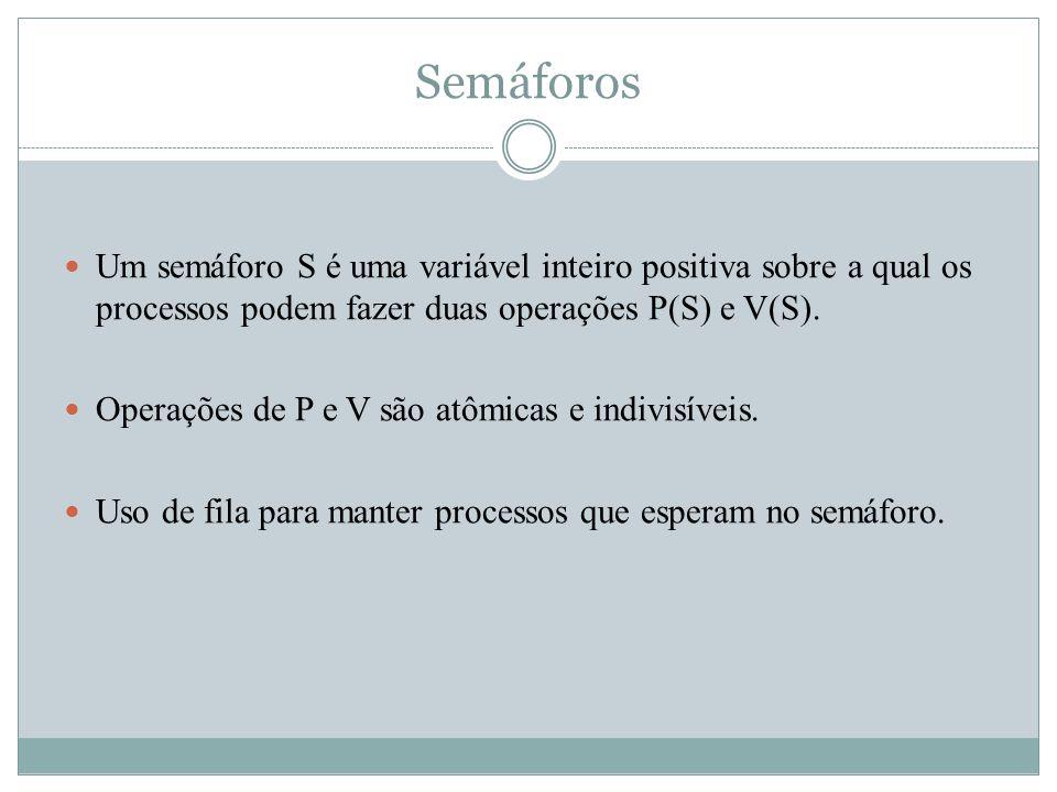 Semáforos Um semáforo S é uma variável inteiro positiva sobre a qual os processos podem fazer duas operações P(S) e V(S).