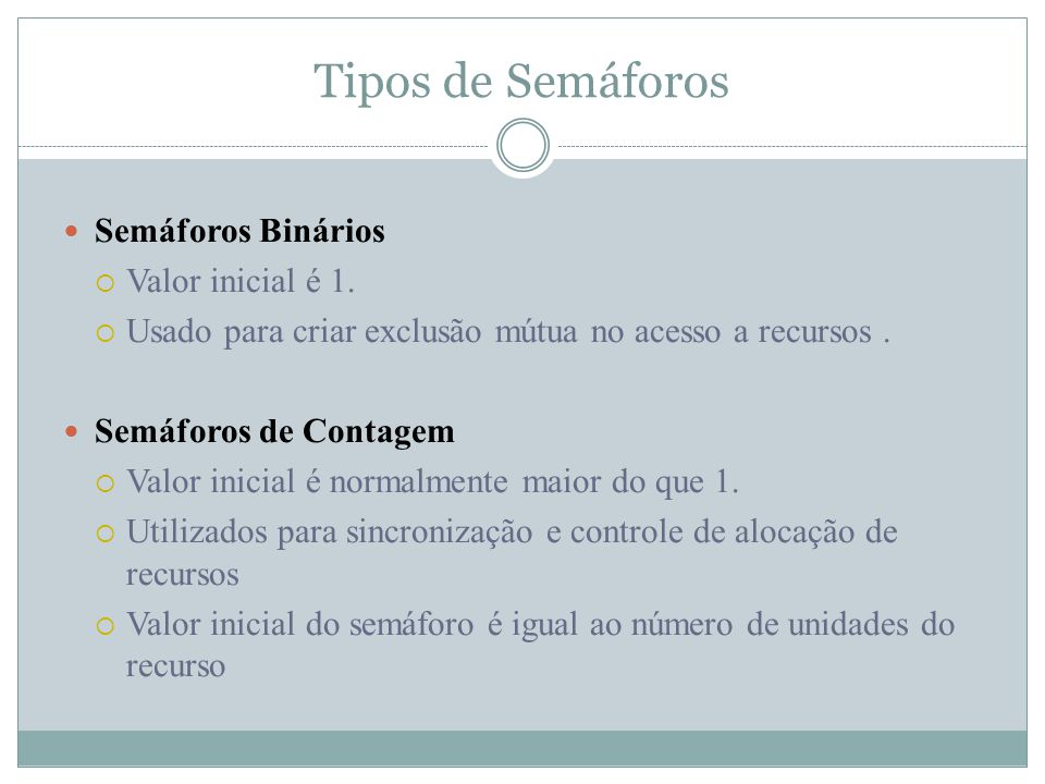 Tipos de Semáforos Semáforos Binários Valor inicial é 1.