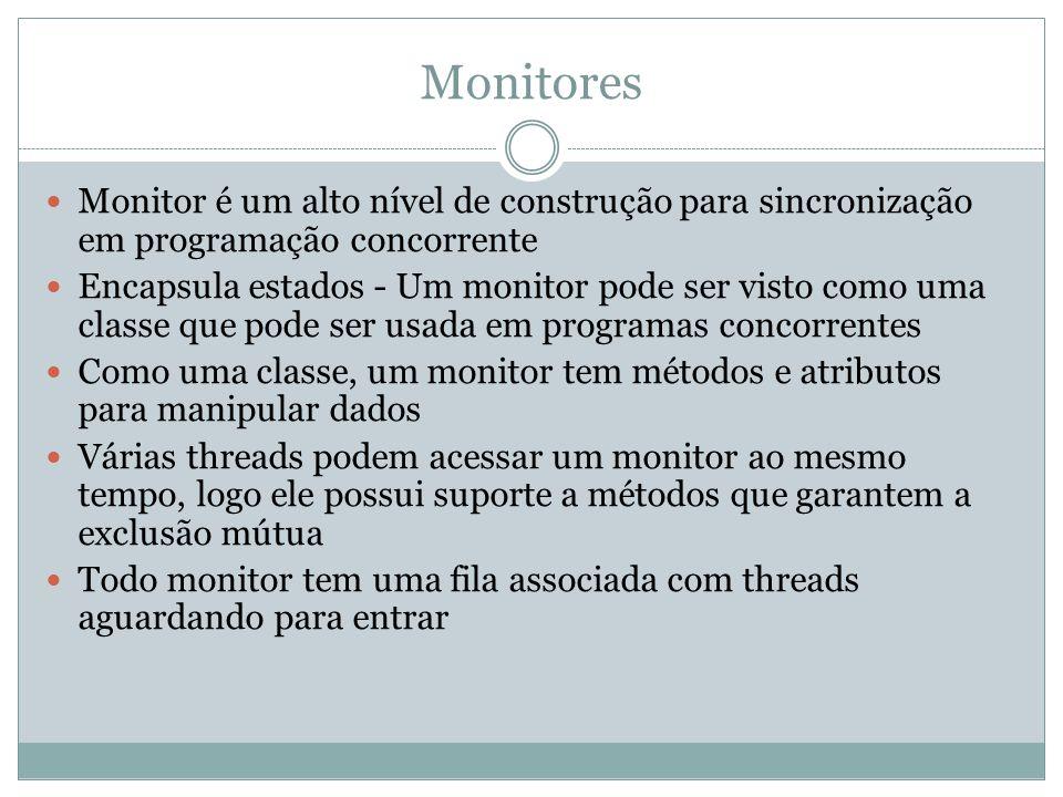 Monitores Monitor é um alto nível de construção para sincronização em programação concorrente.
