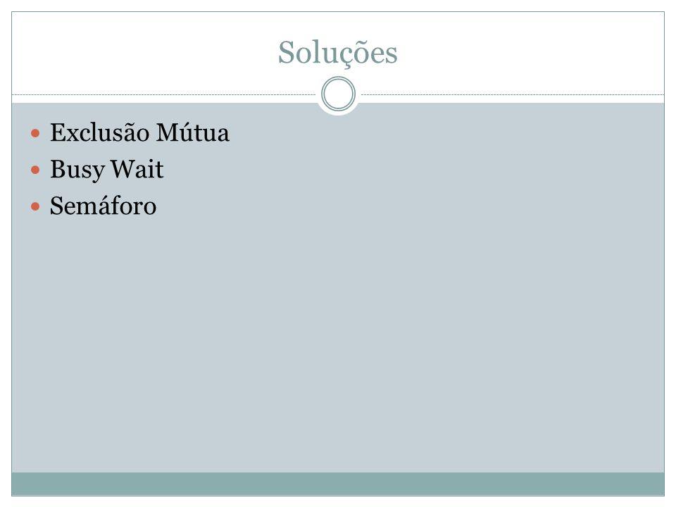 Soluções Exclusão Mútua Busy Wait Semáforo