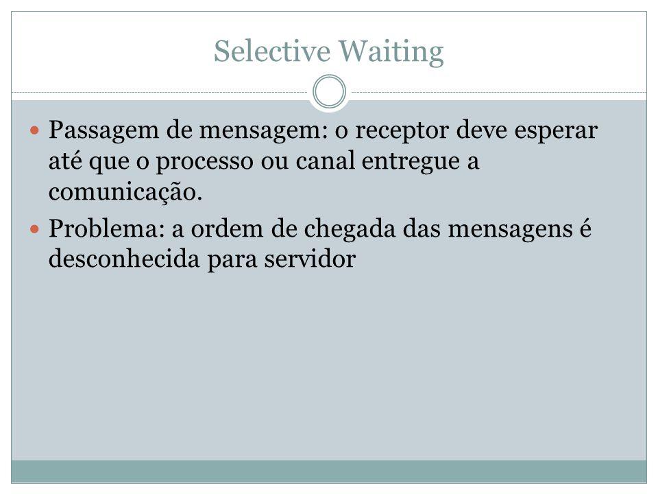 Selective Waiting Passagem de mensagem: o receptor deve esperar até que o processo ou canal entregue a comunicação.